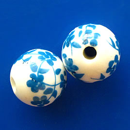 Bead, porcelain, 12mm round, hole:2.5mm. Pkg of 6.