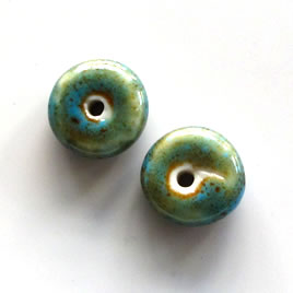 Bead, porcelain, 11x5mm rondelle. Pkg of 10.