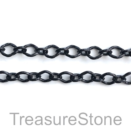 Chain, aluminum, black, 7x8mm - By meter