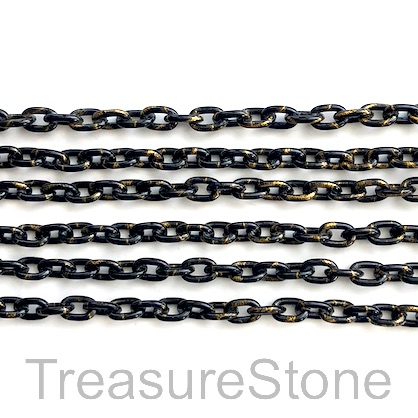 Chain, aluminum, black gold, 4x5mm curb - By meter
