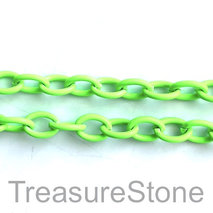 Chain, aluminum, neon green, 7x9mm curb - By meter