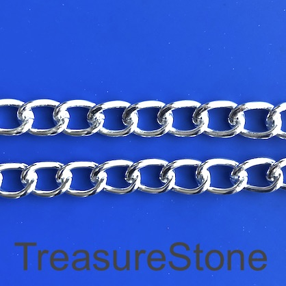 Chain, aluminum, silver, 8x12mm curb - By meter