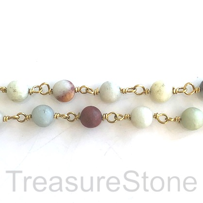 Chain, beaded chain, gold coloured brass, 6mm amazonite, 1 meter