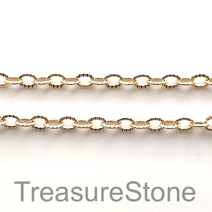 Chain, brass, gold-coloured, 3mm cable. sold per meters