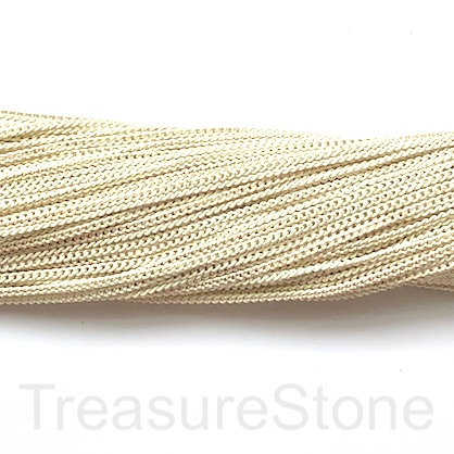 Chain, iron, cream, gold, 2mm flat cable. Pack of 2m.