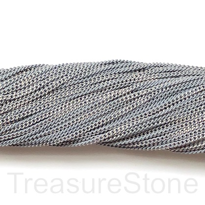 Chain, iron, grey, gold, 2mm flat cable. Pack of 2m.
