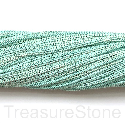 Chain, iron, mint, gold, 2mm flat cable. Pack of 2m.