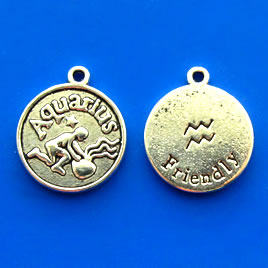 Charm/pendant, Zodiac Sign, Aquarius, 17mm. Pkg of 6.