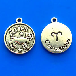 Charm/pendant, Zodiac Sign, Aries, 17mm. Pkg of 6.