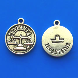 Charm/pendant,Horoscop European,BALANTA, 17mm. Pkg of 6.