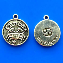 Charm/pendant, Zodiac Sign, Cancer, 17mm. Pkg of 6.