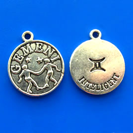 Charm/pendant,Horoscop European, GEMENI, 17mm. Pkg of 6.
