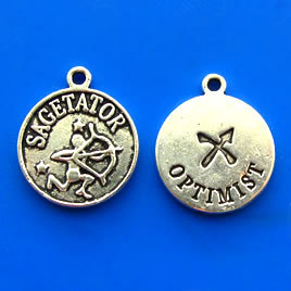 Charm/pendant,Horoscop European, SAGETATOR, 17mm. Pkg of 6.
