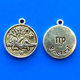 Charm/pendant, Zodiac Sign, Virgo, 17mm. Pkg of 6.