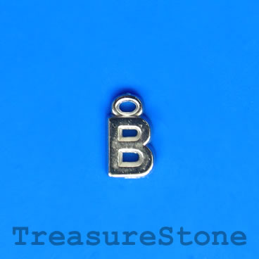 Charm, acrylic, silver-colored, B, 7x8mm. Pkg of 10.