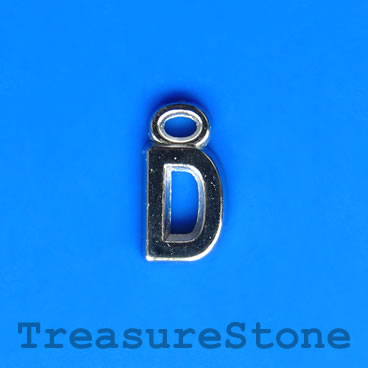 Charm, acrylic, silver-colored, D, 7x8mm. Pkg of 10.