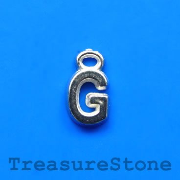 Charm, acrylic, silver-colored, G, 7x8mm. Pkg of 10.