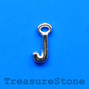 Charm, acrylic, silver-colored, J, 5x8mm. Pkg of 10.