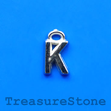 Charm, acrylic, silver-colored, K, 7x8mm. Pkg of 10.