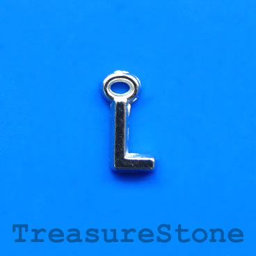 Charm, acrylic, silver-colored, L, 7x8mm. Pkg of 10.