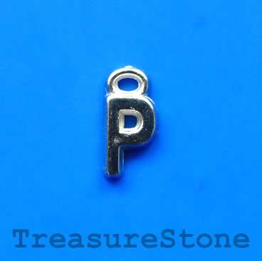 Charm, acrylic, silver-colored, P, 7x8mm. Pkg of 10.