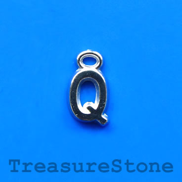 Charm, acrylic, silver-colored, Q, 7x8mm. Pkg of 10.
