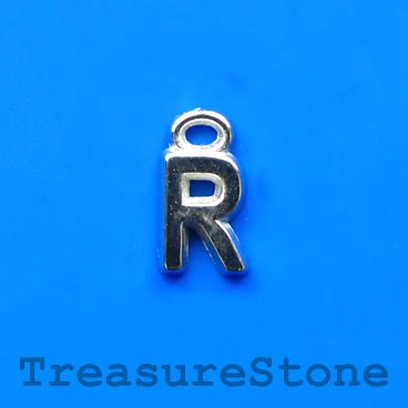 Charm, acrylic, silver-colored, R, 7x8mm. Pkg of 10.