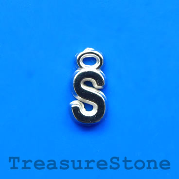 Charm, acrylic, silver-colored, S, 7x8mm. Pkg of 10.