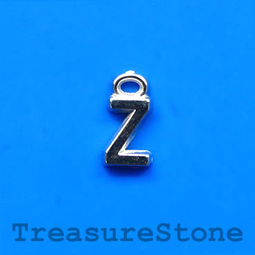 Charm, acrylic, silver-colored, Z, 7x8mm. Pkg of 10.