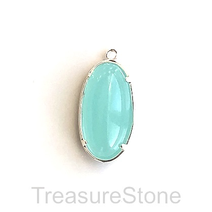 Charm, silver-plated, 11x22mm oval, amazonite glass. Each