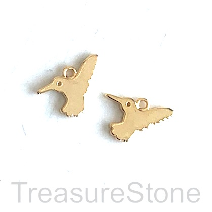 Charm, 18k gold-plated brass, 8x13mm hummingbird. Pack of 2