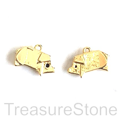 Charm, 18k gold-plated brass, 6x12mm pig. Pack of 2