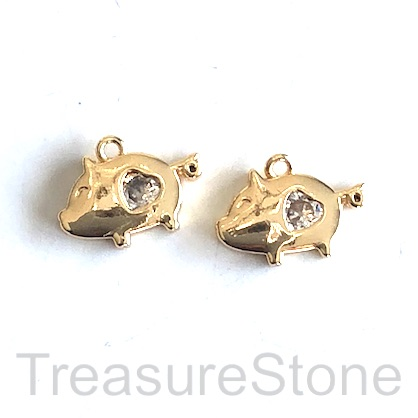 Charm, 18k gold-plated brass, 9x13mm pig, w crystal. Each