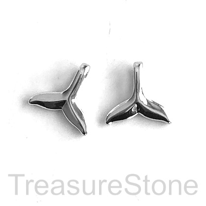Charm, silver-plated brass, 11mm whale tail. Each