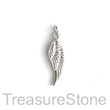 Charm, brass, 9x19mm wing, silver. Each