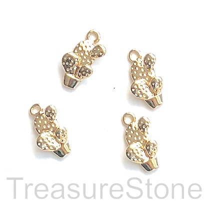 Charm, 18k gold-plated brass, 7x11mm cactus. Pack of 2