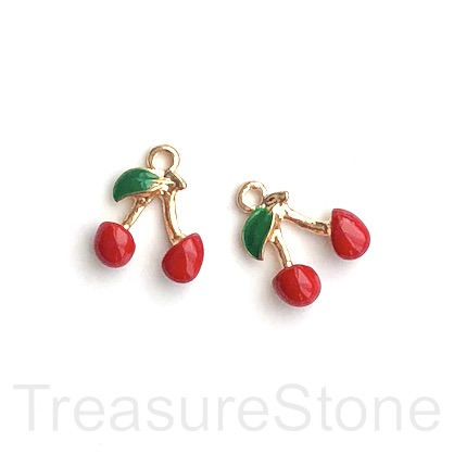 Charm, pendant, 15mm red cherry. 2pcs