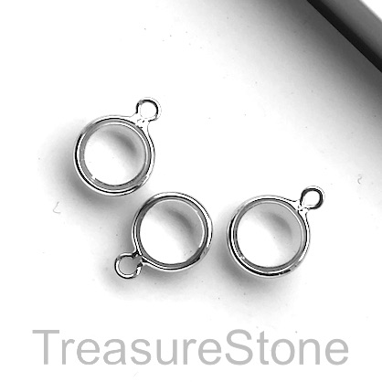 Charm, silver-plated, 8mm, clear glass, 3pcs