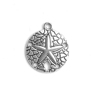 Charm, pendant, connector, Silver-finished, 20mm starfish. 4.