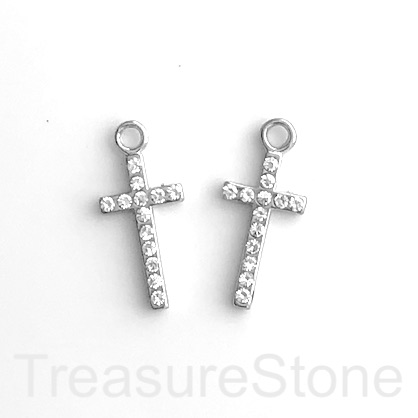 Pendant, silver-plated, clear crystals, 12x22mm cross. each