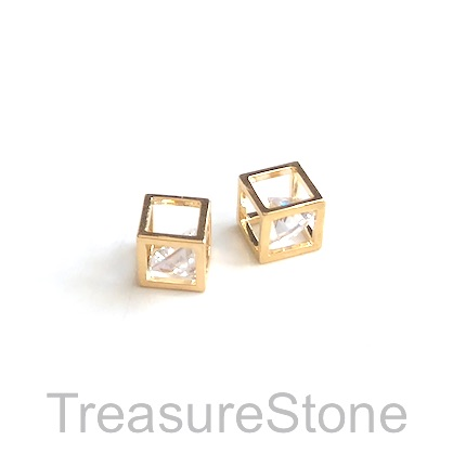 Charm, 18k gold-plated, 5mm cube, clear crystal. Each