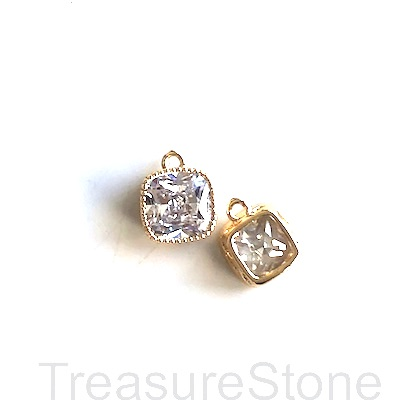 Charm, 24k gold-plated, 7mm square, clear crystal. Each