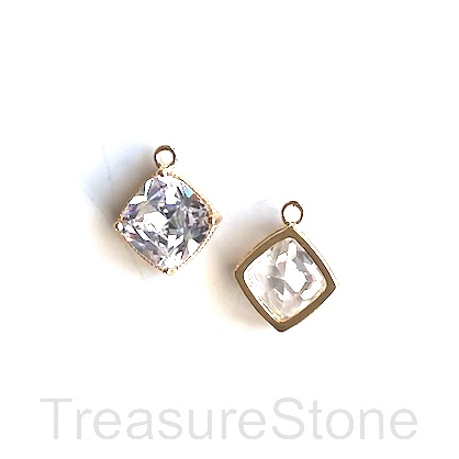 Charm, 24k gold-plated, 9mm flat diamond, clear crystal. Each