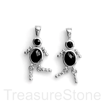 Charm, pendant, silver-finished, black, 25mm dancer. Pkg of 2.