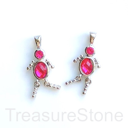 Charm, pendant, silver-finished, fuchsia, 25mm dancer. Pkg of 2.