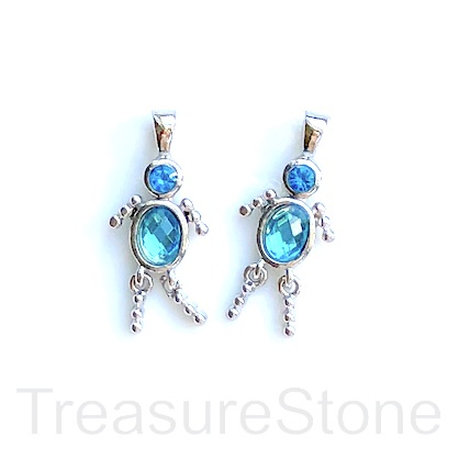 Charm, pendant, silver-finished, light blue, 25mm dancer. 2pcs.