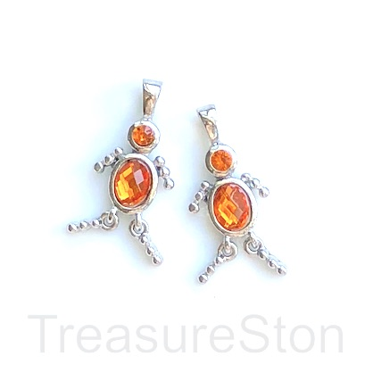 Charm, pendant, silver-finished, orange, 25mm dancer. Pkg of 2.