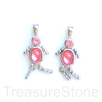 Charm, pendant, silver-finished, pink, 25mm dancer. Pkg of 2.