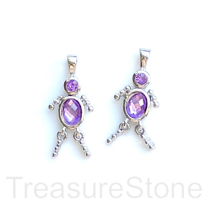 Charm, pendant, silver-finished, purple, 25mm dancer. Pkg of 2.