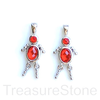 Charm, pendant, silver-finished, red, 25mm dancer. Pkg of 2.